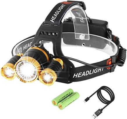Mkocean Super Bright Zoomable LED Head Torch, USB Rechargeable Waterproof Headlamp Adjustable Focus 4 Modes Headlight for Outdoor Camping Fishing Hunting Hiking Running Walking Cycling