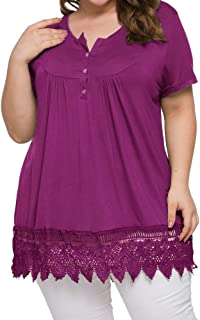 Maggeer Womens Plus Size Henley Shirts Button Down Short Sleeve Lace Tunic Tops