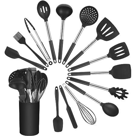 Vicloon Ustensiles de Cuisine,15Pcs Spatule de Silicone de Cusine Kit Kit de Spatule de Cusine Antiadhésifs Include Cullière Spatule etc, pour Cuisine et Faire des Gâteaux