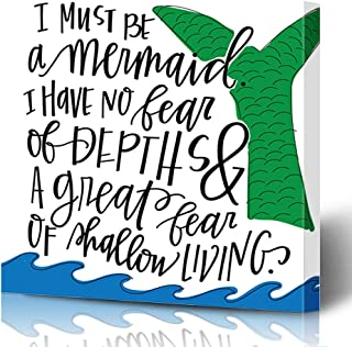 Ahawoso Canvas Prints Wall Art Printing 16x12 Living Blue Hand Handlettered Mermaid Quote Miscellaneous Green Saying Ocean Anais Silhouette Nin Painting Artwork Home Living Room Office Bedroom Dorm