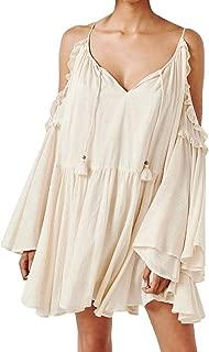 Women's Cotton Long Sleeve V Neck Cold Shoulder Casual Ruffles Loose Short Dresses