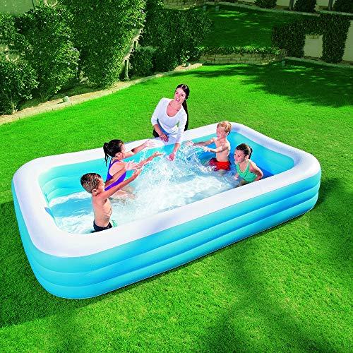 K99 DREI-Ring Rechteckig Aufblasbarer Pool Kinderanimation Pool Family Entertainment Center Pool Aufblasbare Kunststoff-Wanne 305 * 183 * 56CM