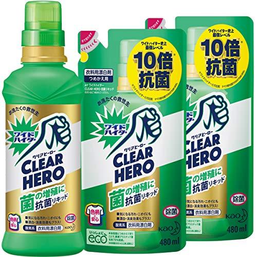 【まとめ買い】ワイドハイター クリアヒーロー(CLEARHERO)抗菌リキッド本体600ml+詰め替え480ml×2個