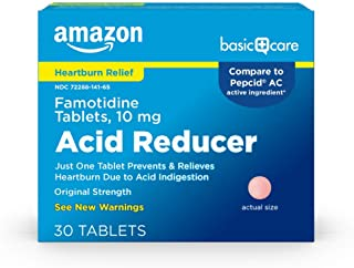 Amazon Basic Care Original Strength Famotidine Tablets, 10 mg, Acid Reducer for Heartburn Relief, 30 Count