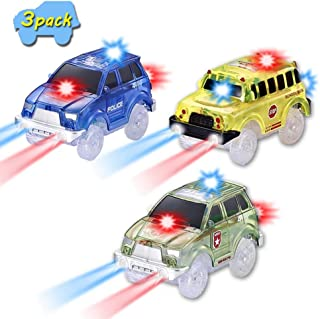 VINSOO Car Tracks(3 Pack), 5 LED Lights Glow in The Dark for Independent & Track Play, Compatible with More Type Track Best Gift for Boys and Girls
