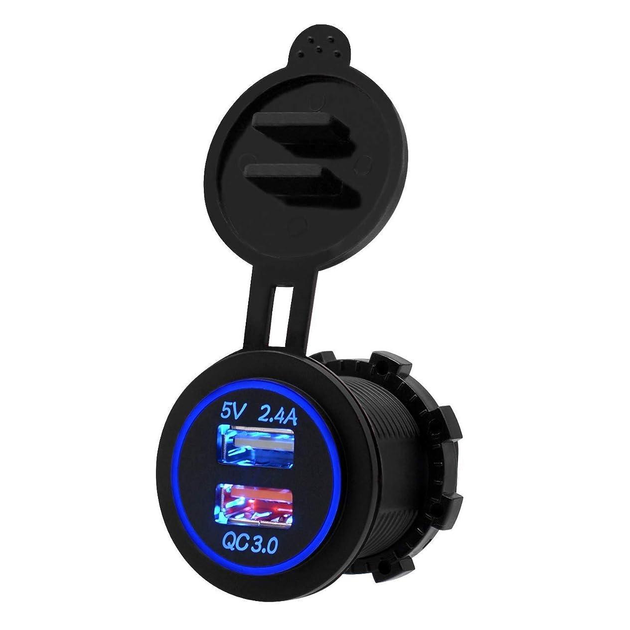 ベーリング海峡生じる精神医学Nrpfell 高速充電3.0 USB充電器ソケットIP66防水デュアルUSB車の電源コンセント、QC 3.0 USBポート&2.4Aポート、LEDライト付き、カーボートマリンRvオートバイ用(ブルー)
