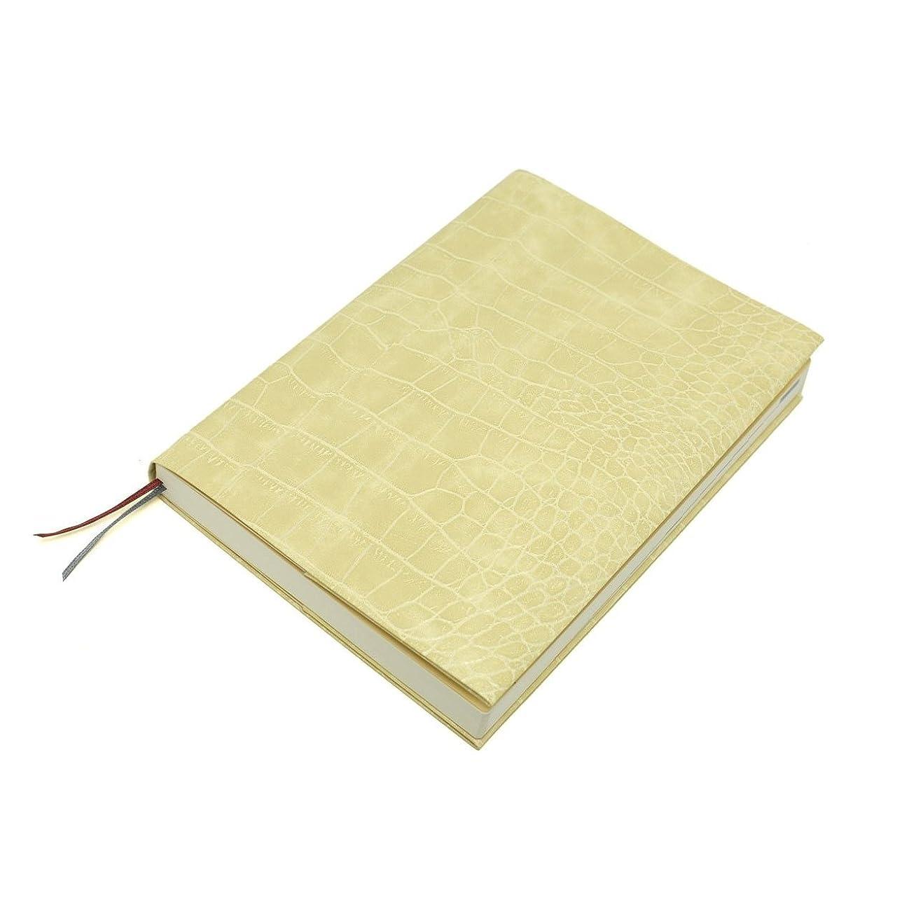 軽食幻想的色お手入れいらずのほぼ日手帳カズン対応A5サイズ リサイクルレザーカバースピンしおりひも付き (クロコ型押しクリーム)