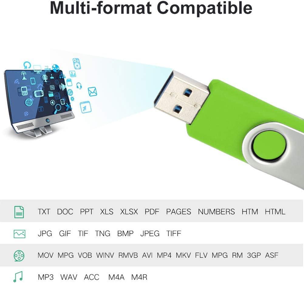 Micro USB Smartphone Picture Stick 128GB, Micro-USB 3.0 USB Flash Drive for Samsung Galaxy S7/S6/S5/S4/S3/Note5/4/3/2/Meizu/HTC/Nokia/Moto/Huawei/Xiaomi,Green