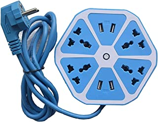 Fedus Heavy Duty Hexagon Electrical Extension Cord Power Socket with 4 USB Port for Computer with 2 Meter Wire 4 Socket Surge Protector Spike Strip Guard Extension Board(Multicolour)