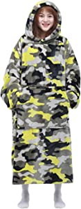 Waitu Wearable Blanket Sweatshirt for Women and Men, Super Warm and Cozy Big Blanket Hoodie, Thick Flannel Blanket with Sleeves and Giant Pocket - Camo