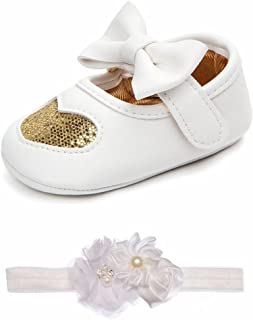 Lidiano Baby Girls Bowknot Sequins Bling Heart Mary Jane Flat Slippers Crib Shoes with Headband (6-12 Months, Gold)