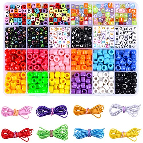 DoreenBow 1000PCS Letter Beads DIY Beads for Kids Color Letter Beads for Necklace Bracelet Jewelry Making with Elastic Crystal String Cords