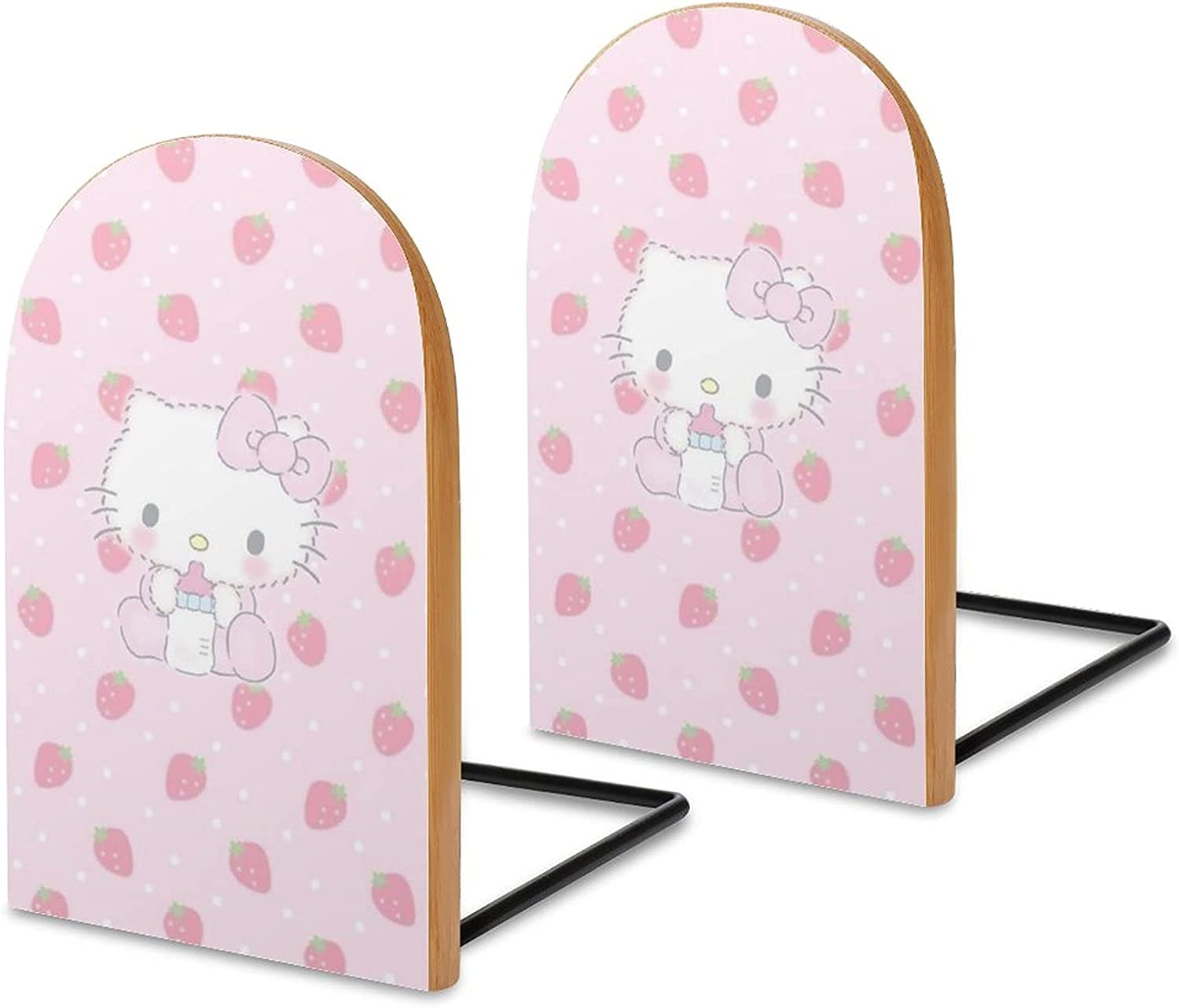 KRISMARIO Rare Hello Kitty Drink Milk 2pcs Bookends M Logs Sales for sale Heavy Wood