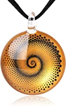 """SUVANI Hand Blown Glass Jewelry Spiral Dotted Round Shaped Pendant Necklace, 18-20"""" Black Cord"""