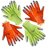 Working Gloves for Women (4 pairs) Medium Size. Comfortable Gardening Gloves. Breathable Nylon coated with nitrile