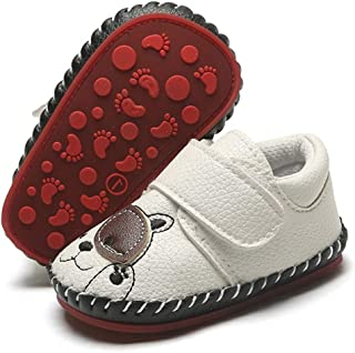 LAFEGEN Baby Boys Girls Walking Shoes Hard Bottom Non Slip PU Leather Outdoor Sneaker Infant Carton Slipper Toddler First Walker Crib Shoes(3-18 Months)
