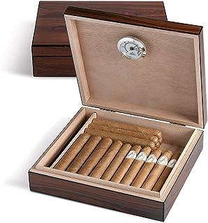 Egoist JK00172 Humidificador Humidor con hygrómetro para puros, habanos o tabacos - 20 cigarros, color marrón