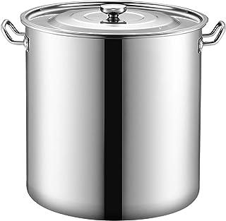 Seau en Acier Inoxydable 304 avec Seau à Soupe de Couvercle, Seau à Lait de Stockage de Grand Pot à Soupe épaissi de Grand...