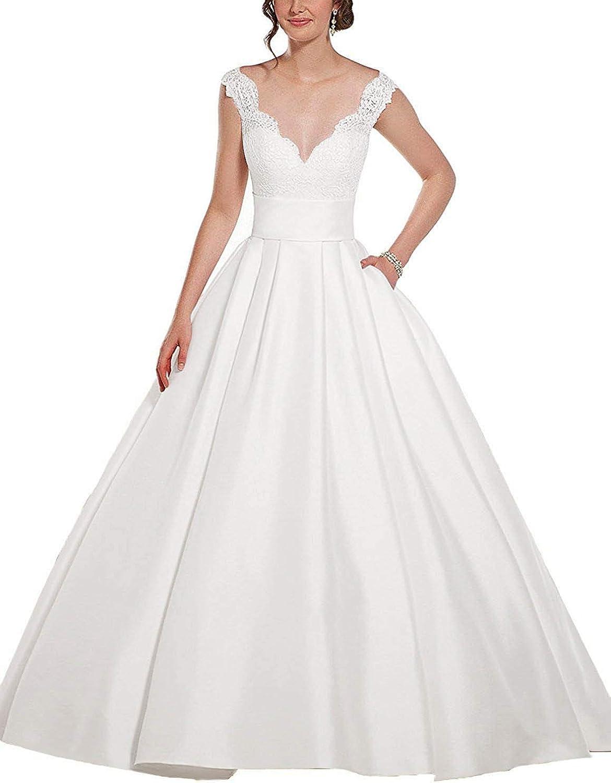 Staypretty V Neck Wedding Dresses Applique Satin Aline Bridal Gown with Pockets