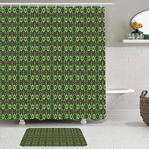 CVSANALA 2 Piece Shower Curtain Set with Non-Slip Bath Mat,Folk Traditional Vertical Borders in Green Shades Vintage Ornament,12 Hooks,Personalized Bathroom Decor