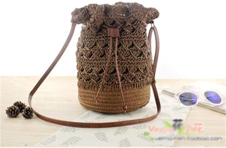 Eeayyygch Handtasche Sommer böhmischen Bali handgewebte handgewebte handgewebte Runde Stroh Tasche Frauen Rattan Paket Vintage Quaste Eimer Tasche Strand Umhängetasche (Farbe   Dark braun) B07JX72RLT 859d9d