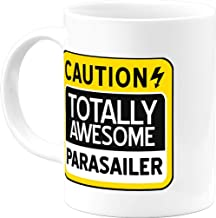 Parasailing Mugs Christmas Funny Inspirational Caution Totally Awesome Parasailer 11 Oz Coffee Mug Novelty Presents for Men Women Him Her Best Gifts Thanksgiving Birthday Office Cups