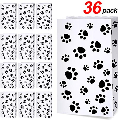 36 Pack Paper Puppy Dog Paw Print Treat Bags, Paw Print Gift Bags Paper Paw Print Goodie Bags Dog Gift Bags Cat Treat Bags for Pet Treat Party Favor