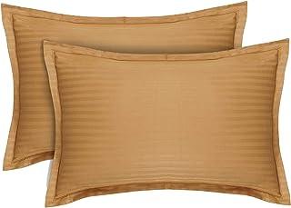 CASA-NEST Premium Cotton Stripes Cotton King Size Pillow Cover, Size=18x27 Inch ,Bed Pillow, Gold Color ,One Pair (2 pcs)