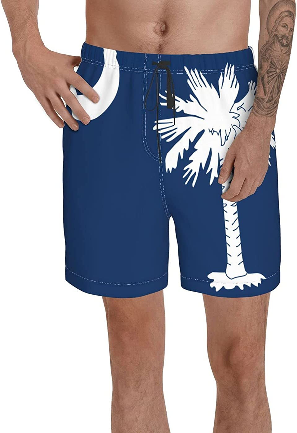 South Carolina State Polyester Flag Men's 3D Printed Funny Summer Quick Dry Swim Short Board Shorts with