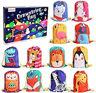BeebeeRun Animals Kids Party Bags 12 PCS Candy Goodie Bags Reusable Drawstring Bags ,Party Supplies Bags for Kids Girls Boys