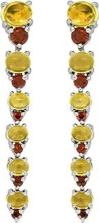 YoTreasure 5.33 ct Citrine Garnet Solid 925 Sterling Silver Earrings