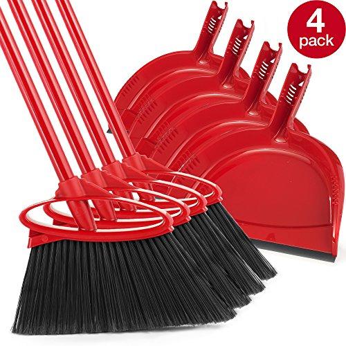 O-Cedar B01NBMAL83 791484317028 Angler Angle Broom with Dust Pan, Pack- 4, Red