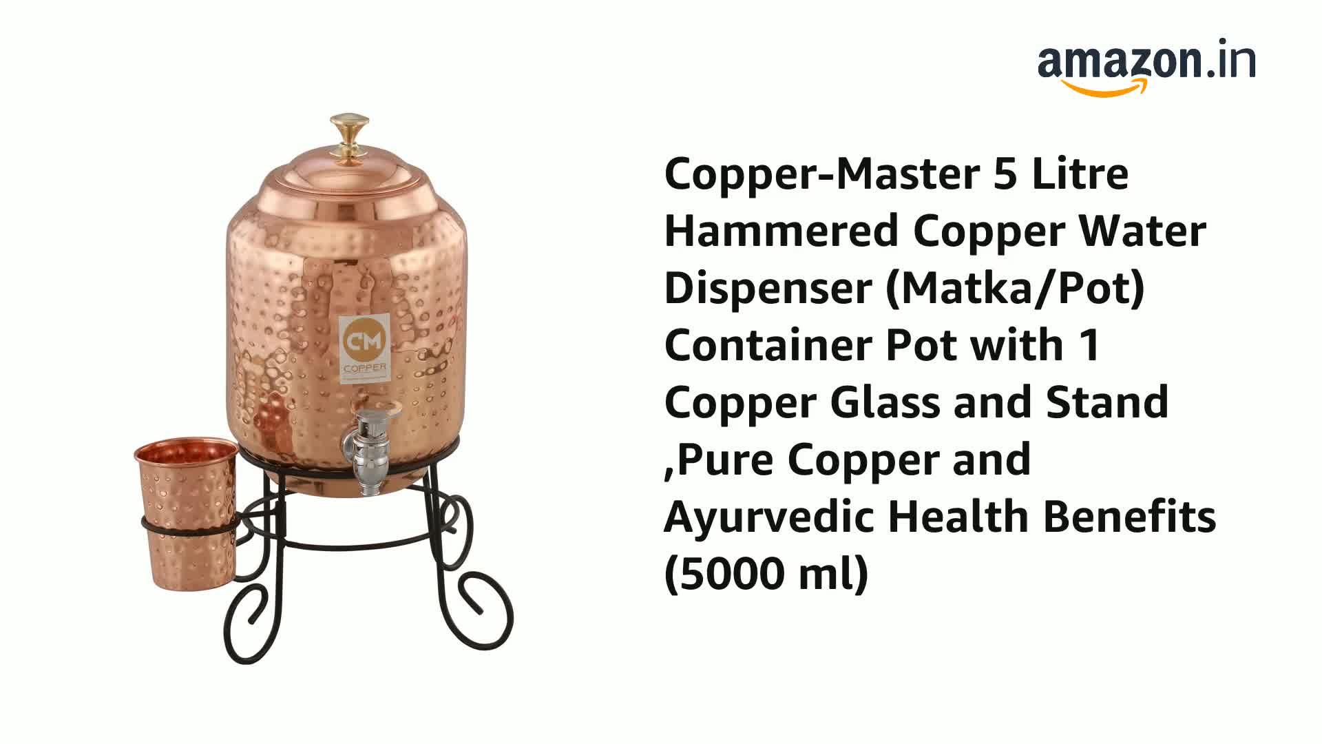 Pure Copper Water Dispenser Jointless Matka 5 Litre express shipping