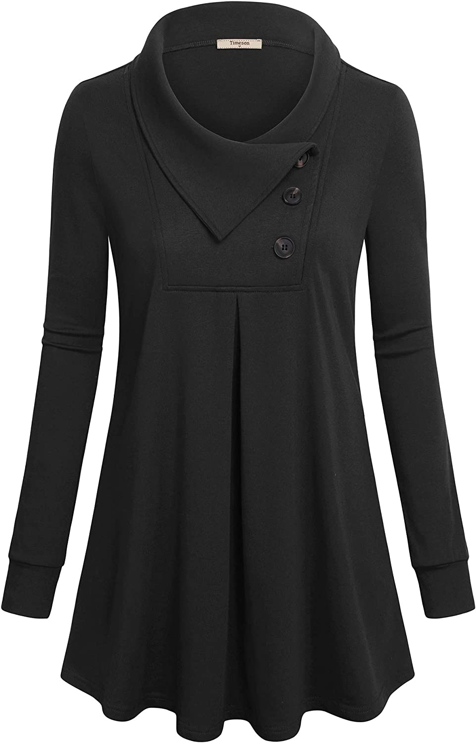 Timeson Women's Animer and price revision Long Sleeve Button Pullover Tunic Lapel Sw Swing Arlington Mall