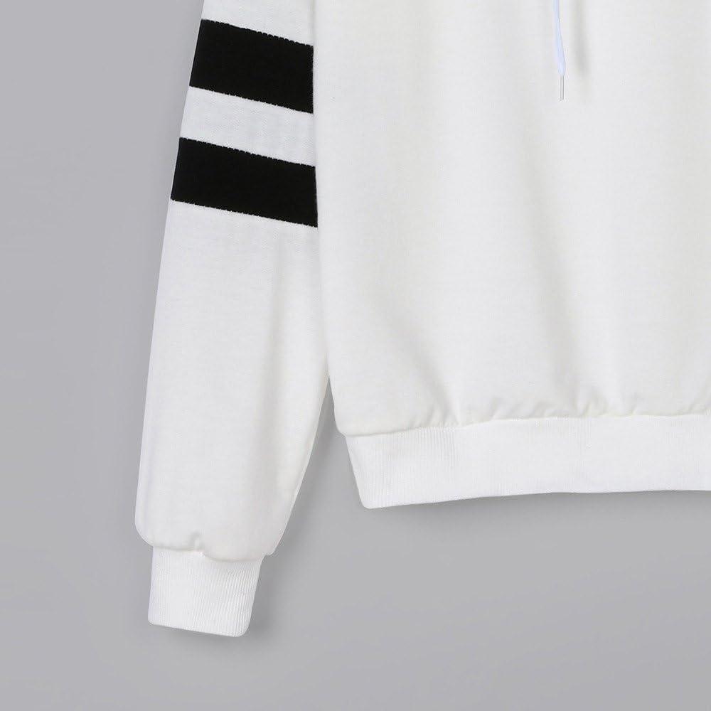 Womens Teen Girls Hoodies,Celestial Body Printed Striped Long Sleeve Sweatshirt Sport Jumper Hooded Blouse Zulmaliu