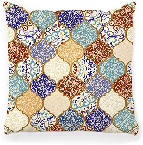 Funda de almohada decorativa Cuadrada 16x16 Azulejo de cerámica Colorido Patchwork Patrón vintage Tela textil turca Arte marroquí abstracto Decoración para el hogar Funda de almohada con cremallera