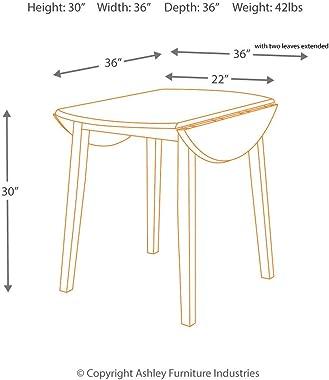 Signature Design by Ashley Hammis Round Dining Room Drop Leaf Table, Dark Brown