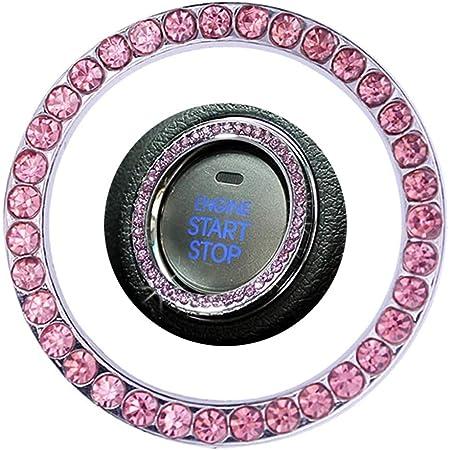 Dubens Kfz Dekoration Ring Motorstartknopf Dekorring Auto Kristall Strass Start Zündung Button Schlüsselloch Motor Schalter Dekor Fahrzeug Zündknopf Rosa Auto