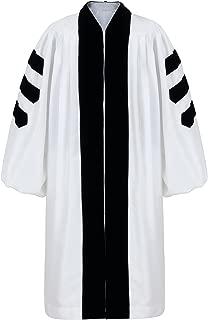 Unisex Deluxe White Clergy Robe Geneva for Pulpit