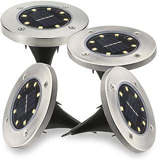 【在庫処理】Jorft 4個セット32LEDのソーラーライト 光センサーで夜間自動点灯ライト 埋め込み式防水ライト 防犯ライト ガーデン、庭、芝生、公園に適うアウトドア用ライト【ホワイト】