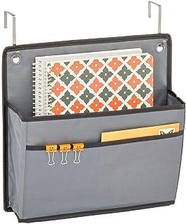 mDesign rangement suspendu pour la porte– organiseur de bureau pratique en tissu – système de rangement avec 2 compartimen...