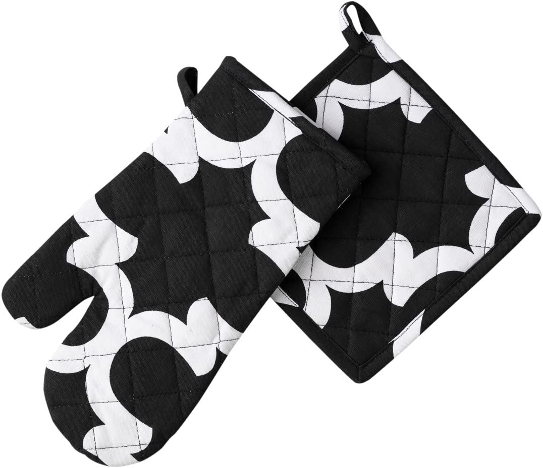 LinenTablecloth Black and White Trellis 4- OFFicial Pot Bombing new work Mitt Holder Oven
