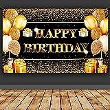 Happy Birthday Banner, Geburtstagsbanner, Schwarz Gold Banner Geburtstag, Großes Geburtstag Hintergrund, Party Geburtstag Banner für junge Leute und Familiengeburtstag