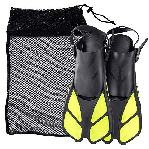 KAILH Premium Flossen mit Verstellbarer Ferse für Erwachsene, Flossentasche zum umhängen, Unisex für Damen & Herren, ideal zum Tauchen, Apnoe, Schnorcheln und Schwimmen, Gelb