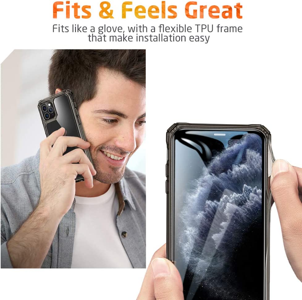 """ESR Air Armor Designed for iPhone 11 Pro Case [Shock-Absorbing] [Scratch-Resistant] [Military Grade Protection] Hard PC + Flexible TPU Frame, for The iPhone 5.8""""(2019), Transparent Black"""