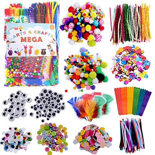 Puchod Arts and Crafts Supplies for Kids, Craft Supplies Kit All in one D.I.Y. Collage School Art Supply Set 1000+ Piece Pipe Cleaner for Toddlers Age 4 5 6 7 8