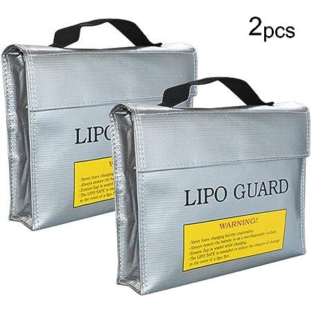 Moko Lipo Batterie Sichere Tasche Feuerfeste Explosionsgeschützte Akku Tasche Für Aufladung Und Lagerung Von Batterien Tragbare Doppelreißverschlüsse Schutzhülle Silber Baumarkt