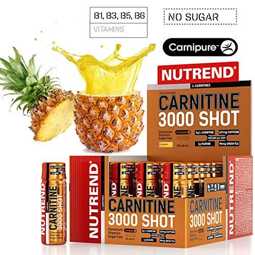 Nutrend CARNITINE 3000 SHOT 20x60ml Pineapple Weght Loss Fat Burn Sports Taurine, Caffeine, Practical monodose, Green tea extract, vitamins B1, B5 and B6, L-carnitine, taurine, chromium