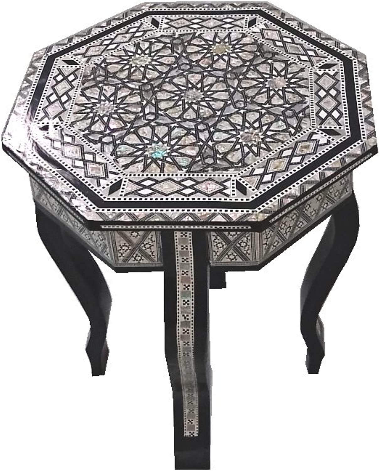 W87 Mother of Pearl Mgoldccan Corner Wood Octagonal Table Black End Coffee