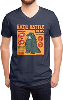 DDLI Men's Kaiju Battle Play Funny Art Fashion V-Necks Tshirt